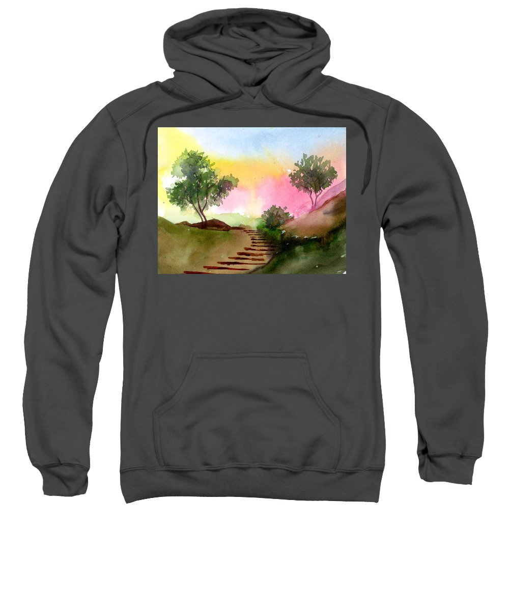 Landscape Sweatshirt featuring the painting Dawn by Anil Nene