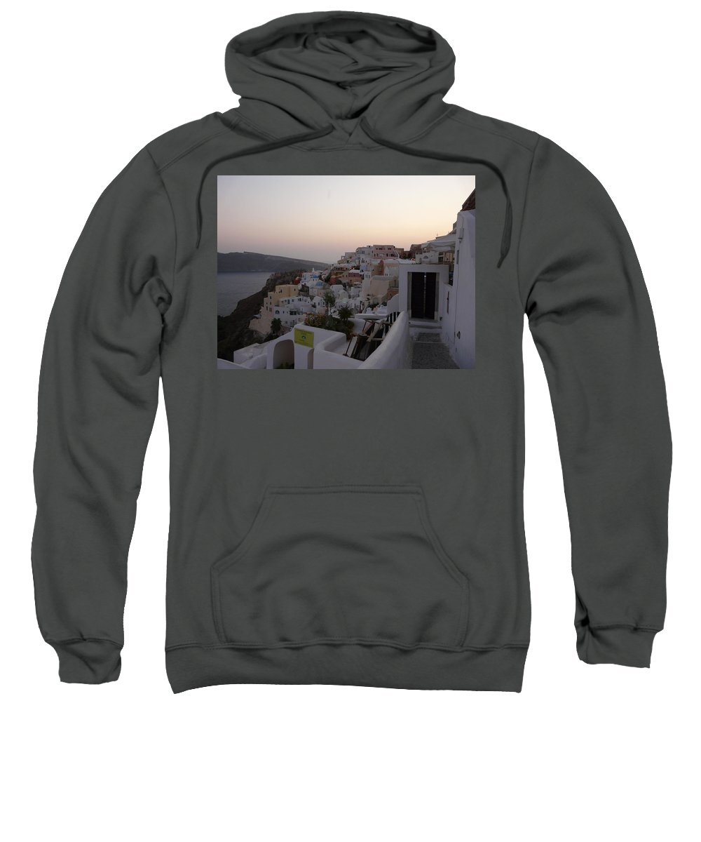 Landscape Sweatshirt featuring the photograph Dawn In Oia Santorini Greece by Valerie Ornstein