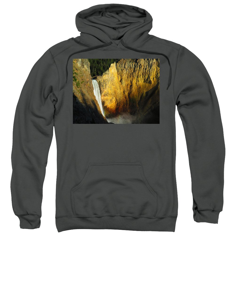 Waterfall Sweatshirt featuring the photograph Dawn, Lower Falls Of The Yellowstone by Alanna Morris