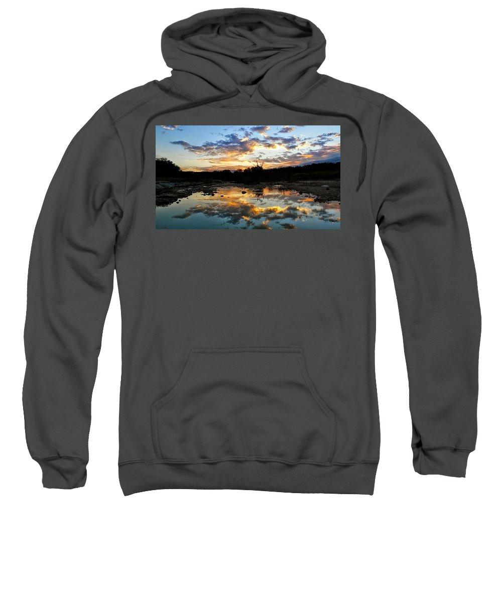 Sweatshirt featuring the photograph Dawn Over Boerne Creek by Karen Trunko