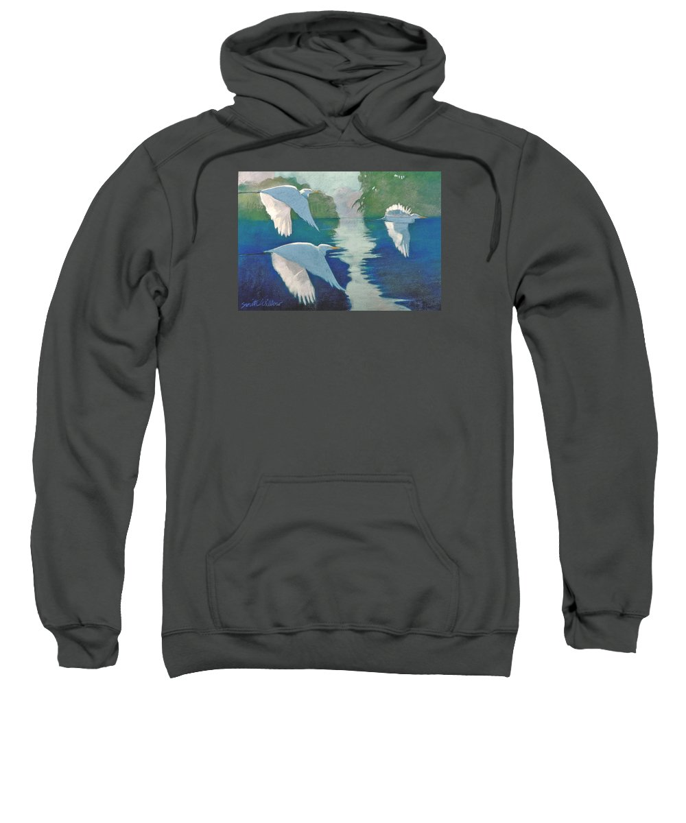 Birds Sweatshirt featuring the painting Dawn Patrol by Neal Smith-Willow