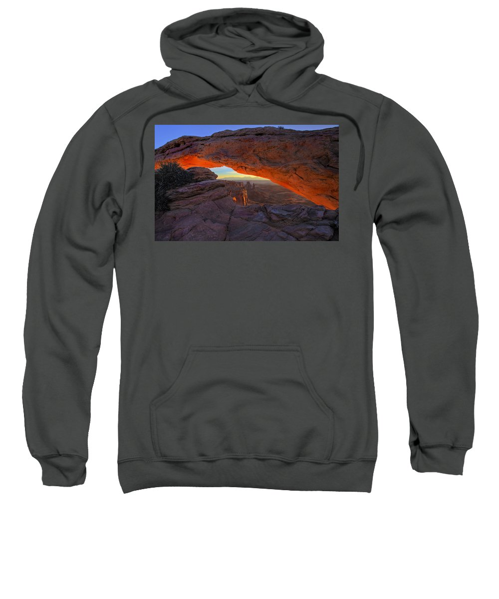 Mesa Arch Sweatshirt featuring the photograph Dawns Early Light by Mike Dawson