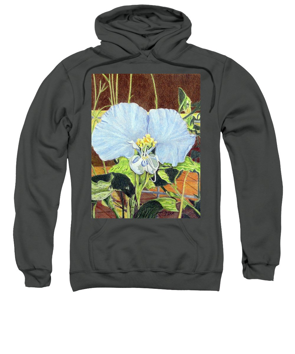 Fuqua - Artwork Sweatshirt featuring the drawing Day Flower by Beverly Fuqua