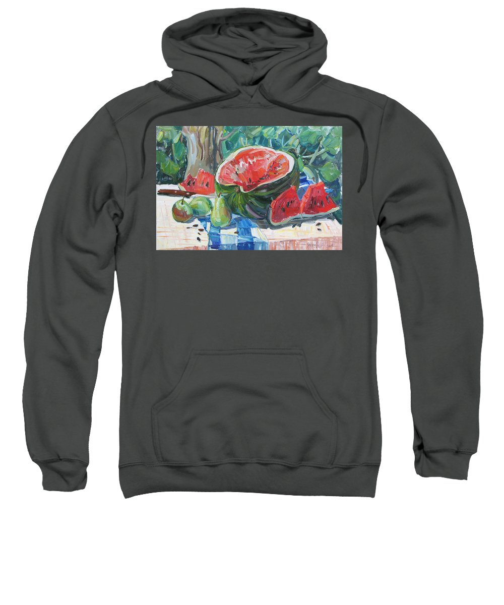 Summer Still-life Sweatshirt featuring the painting Day Of A Water-melon by Juliya Zhukova