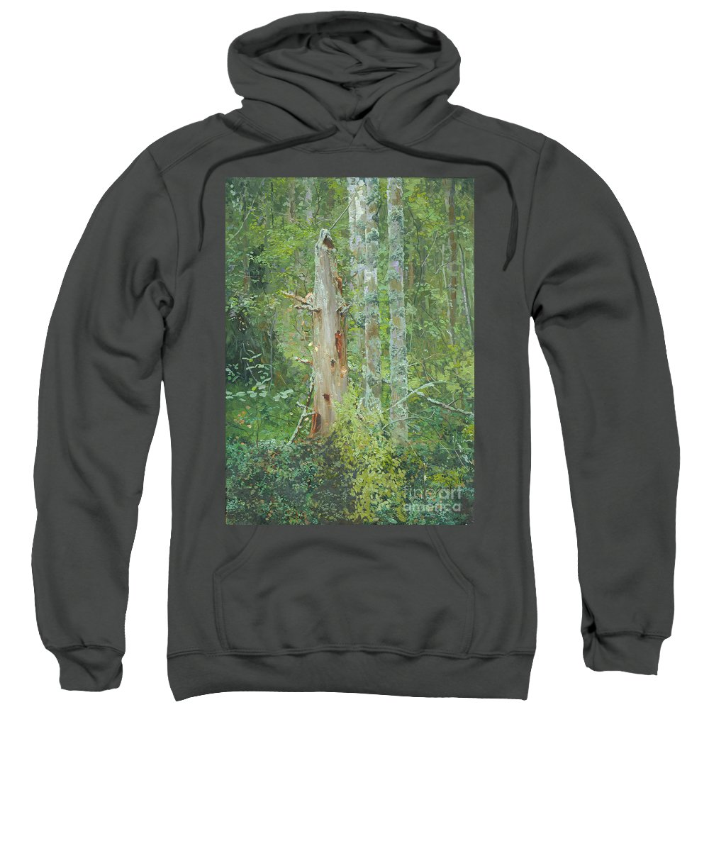 Old Tree Sweatshirt featuring the painting Dead Tree by Simon Kozhin