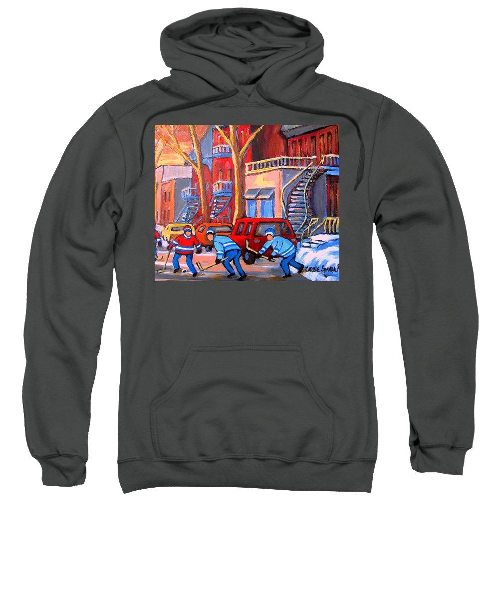 Debullion Street Hockey Stars Sweatshirt featuring the painting Debullion Street Hockey Stars by Carole Spandau