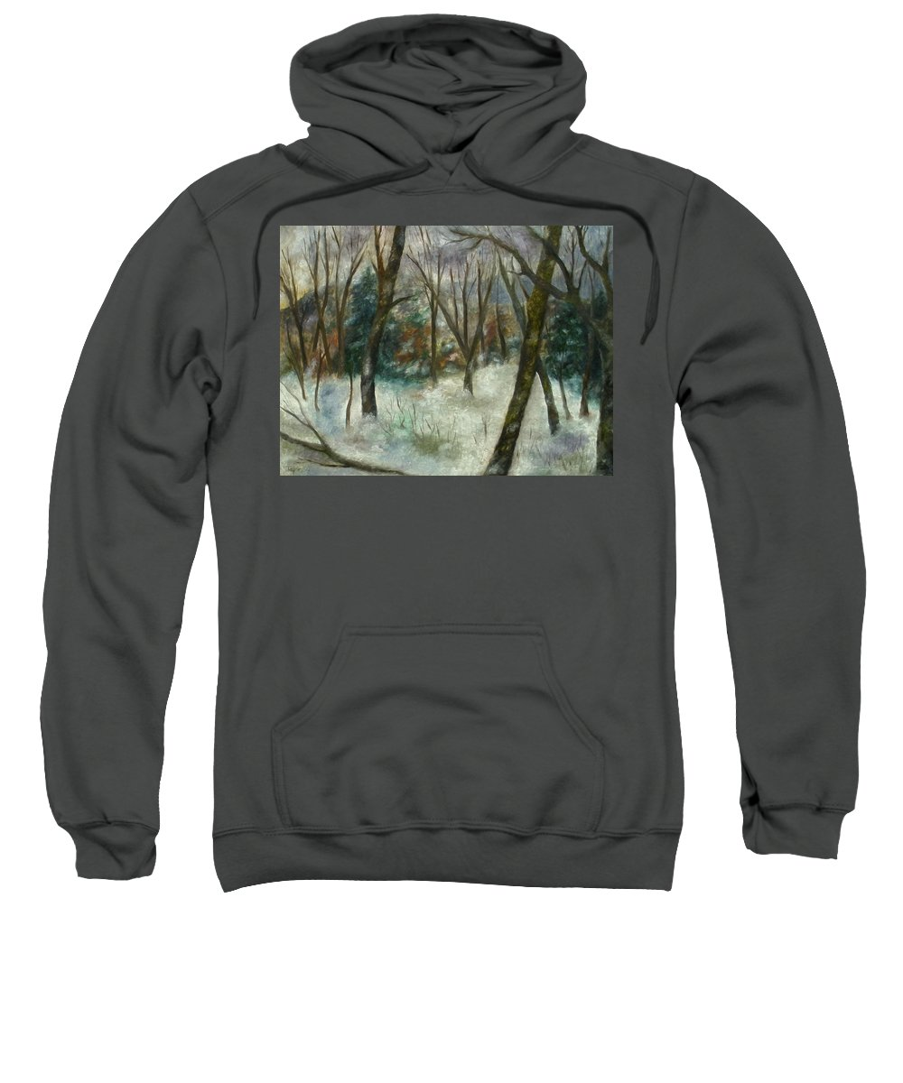 Forest Sweatshirt featuring the painting December On Cooper Hill by FT McKinstry