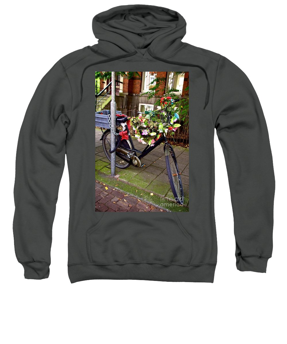 Absence Sweatshirt featuring the photograph Decorated Bicycle. Amsterdam. Netherlands. Europe by Bernard Jaubert