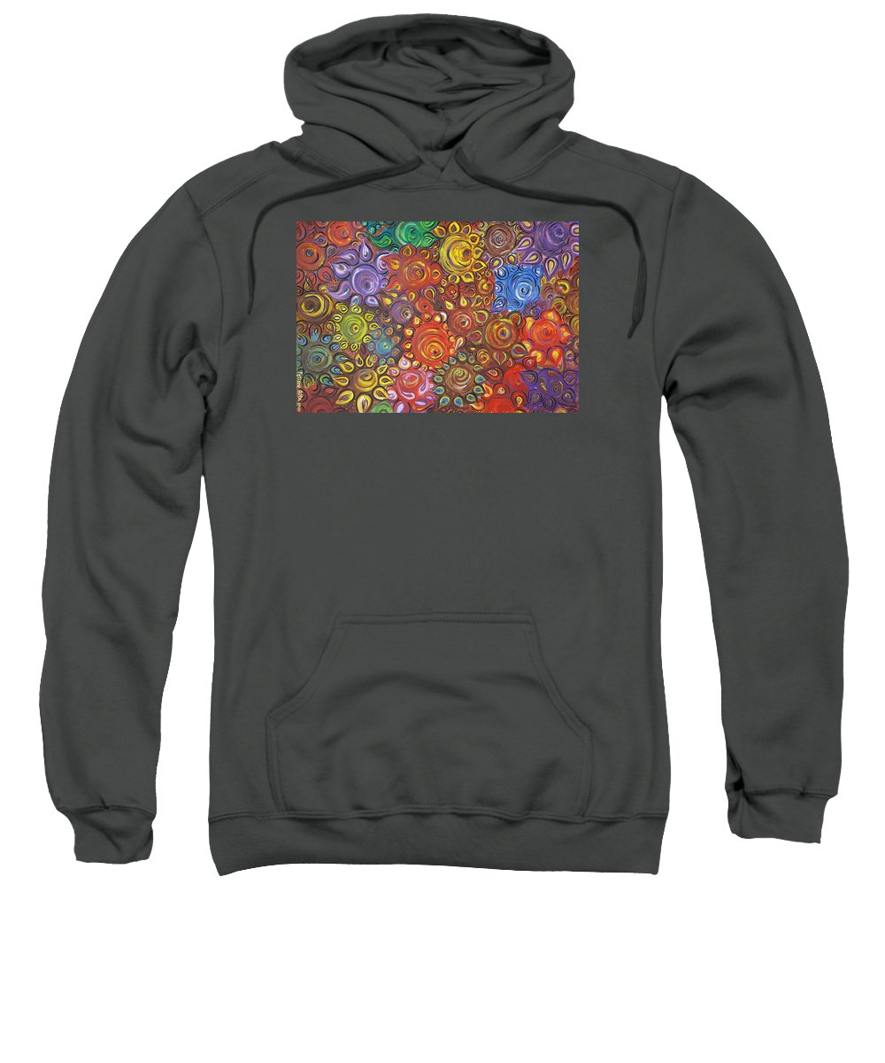 Flower Sweatshirt featuring the painting Decorative Flowers by Rita Fetisov