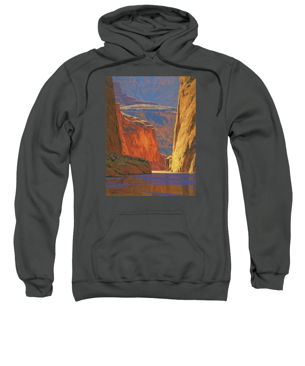 Grand Canyon Sweatshirt featuring the painting Deep In The Canyon by Cody DeLong