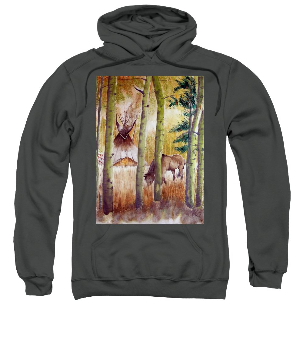 American Sweatshirt featuring the painting Deep Woods Camp by Jimmy Smith