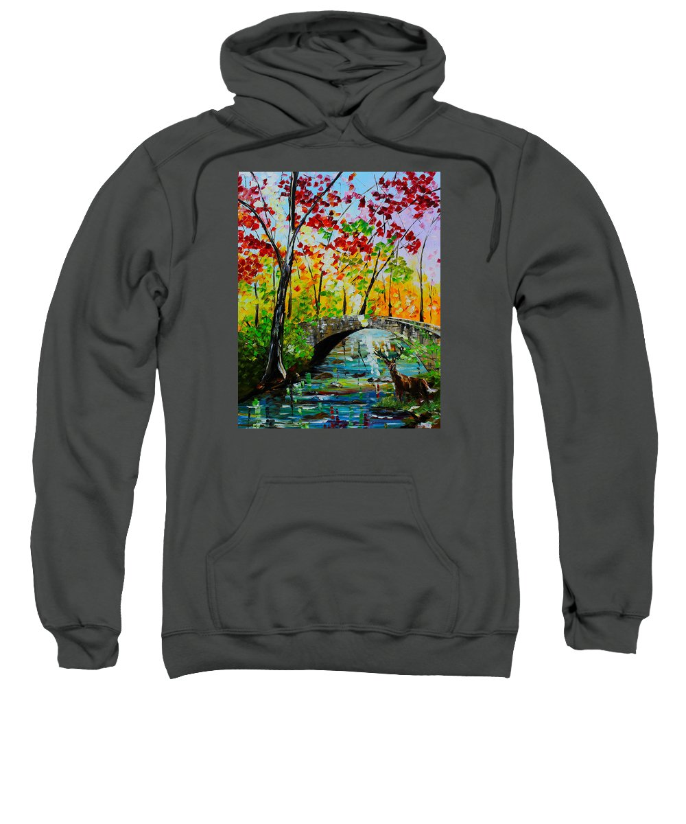 City Paintings Sweatshirt featuring the painting Deer Crossing by Kevin Brown