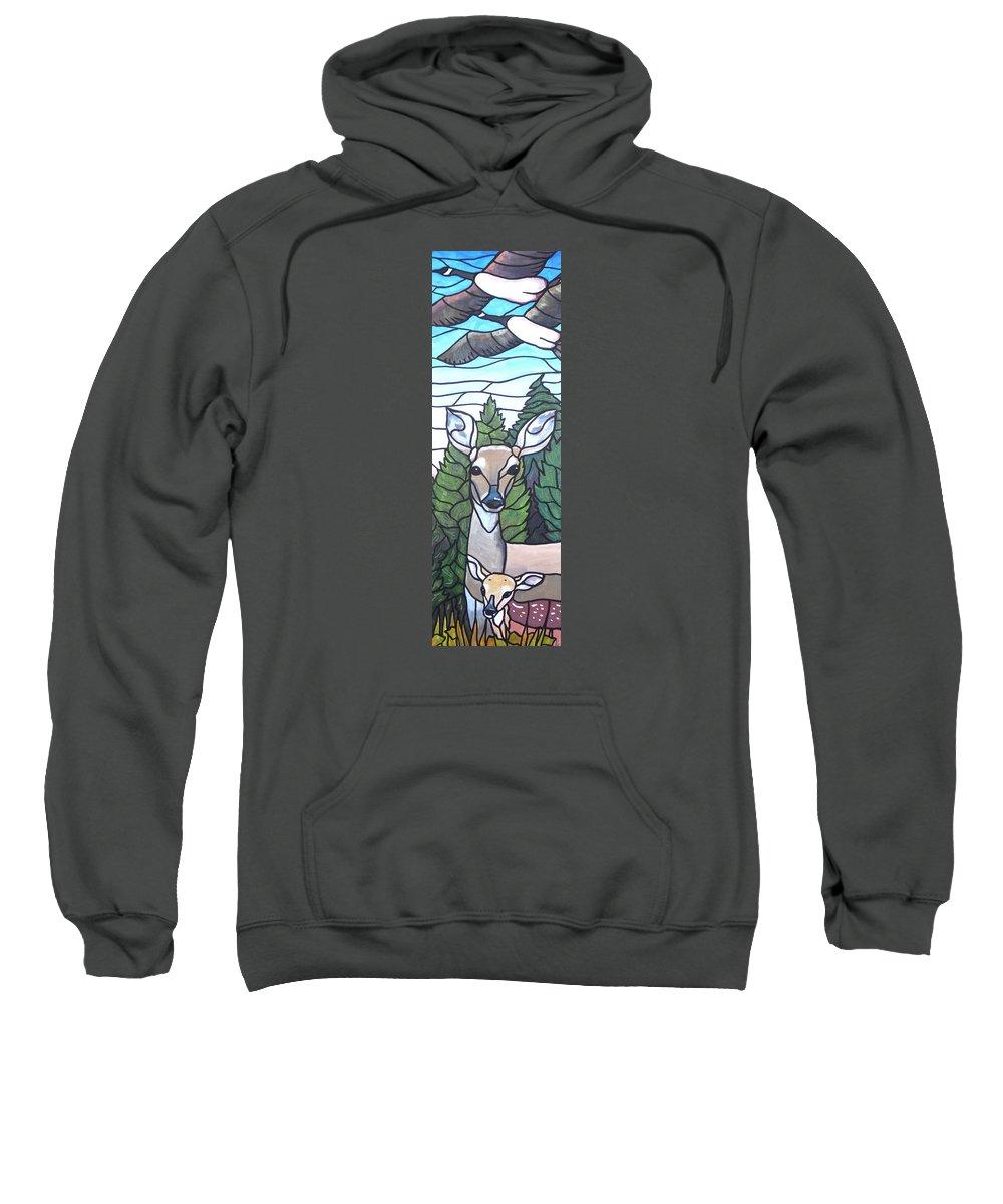 Deer Sweatshirt featuring the painting Deer Scene by Jim Harris
