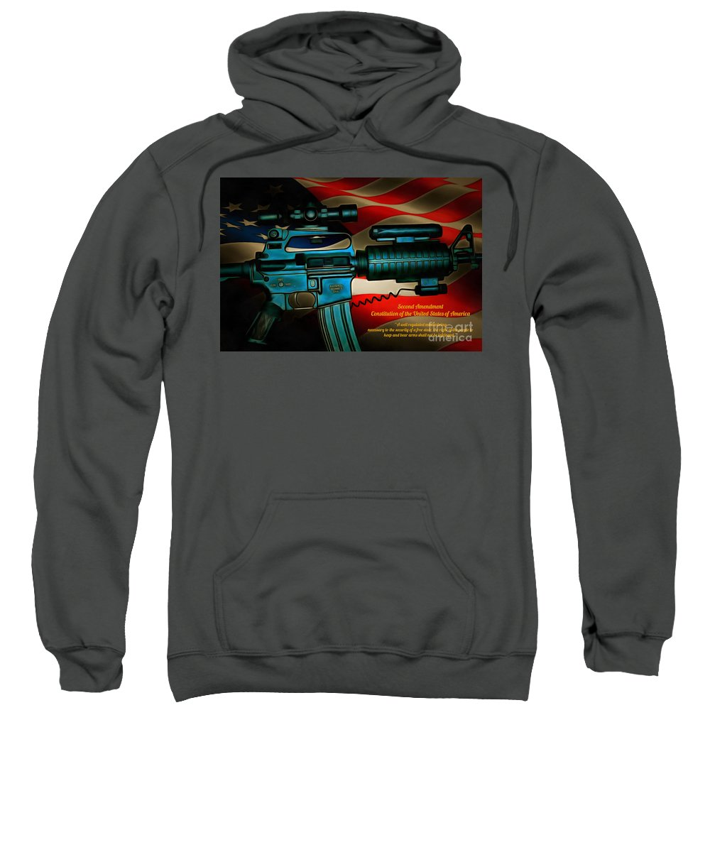 America Sweatshirt featuring the digital art Defender Of Freedom - 2nd Ammendment by Tommy Anderson