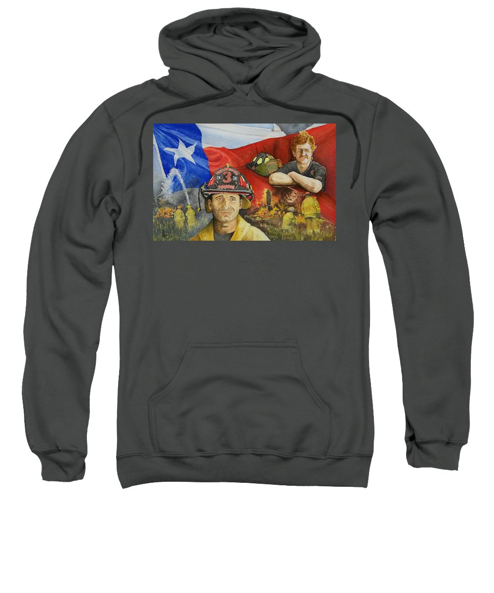 Firemen Sweatshirt featuring the painting Defending Texas by Gale Cochran-Smith