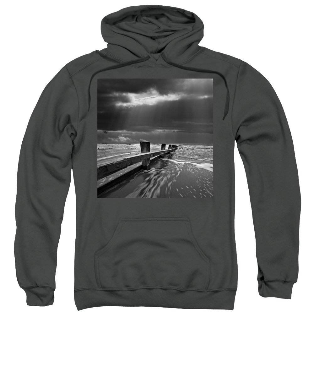 Groyne Sweatshirt featuring the photograph Defensive by Meirion Matthias