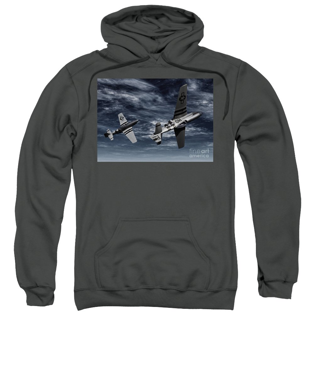 Aircombat Sweatshirt featuring the digital art Defensive Split by Richard Rizzo