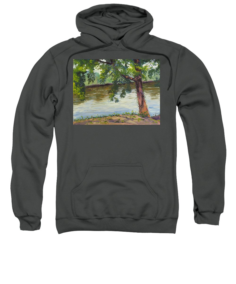 Landscape Sweatshirt featuring the painting Delaware River At Washington's Crossing by Lea Novak