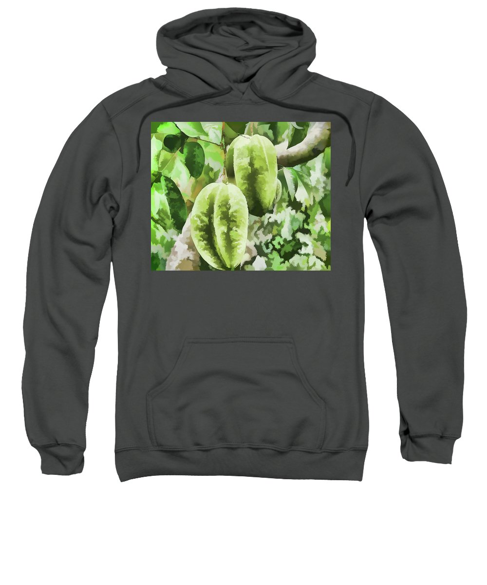 Star Apple Fruit On The Tree Sweatshirt featuring the painting Delicious Star Fruit by Jeelan Clark