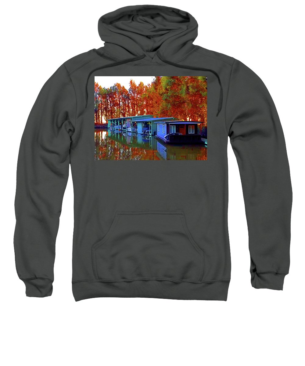 Sacramento Delta Loop Sweatshirt featuring the digital art Delta Light And Reflections by Joseph Coulombe