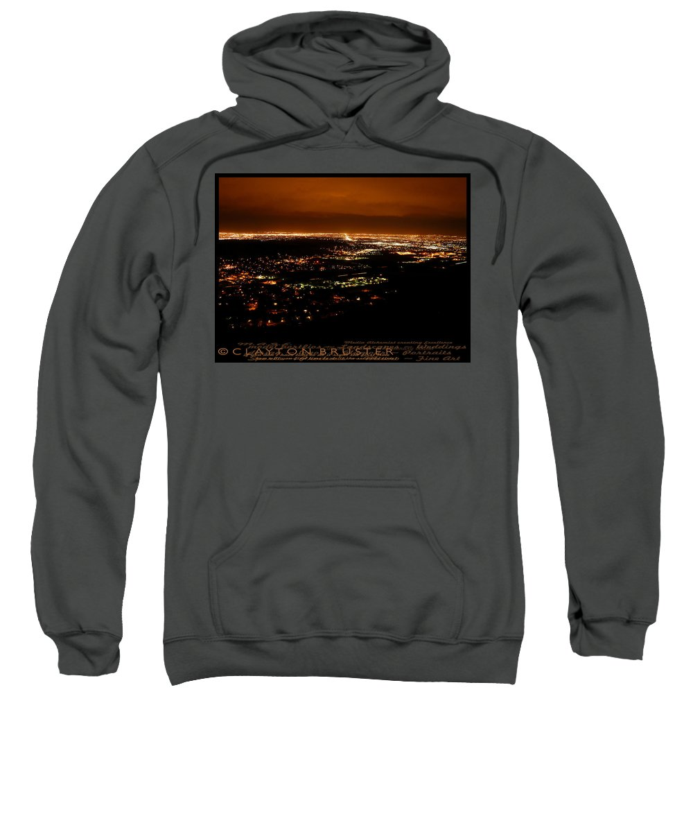 Clay Sweatshirt featuring the photograph Denver Area At Night From Lookout Mountain by Clayton Bruster