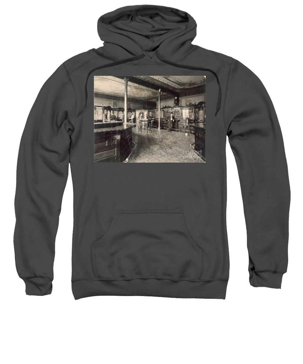 1890 Sweatshirt featuring the photograph Denver Bank, C1890 by Granger