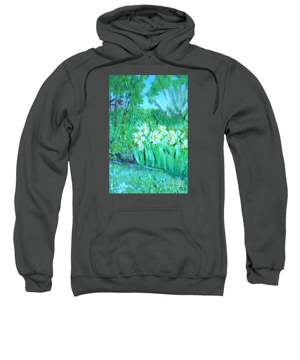 Daffodils Sweatshirt featuring the painting Dependable Daffodils by Laurie Morgan