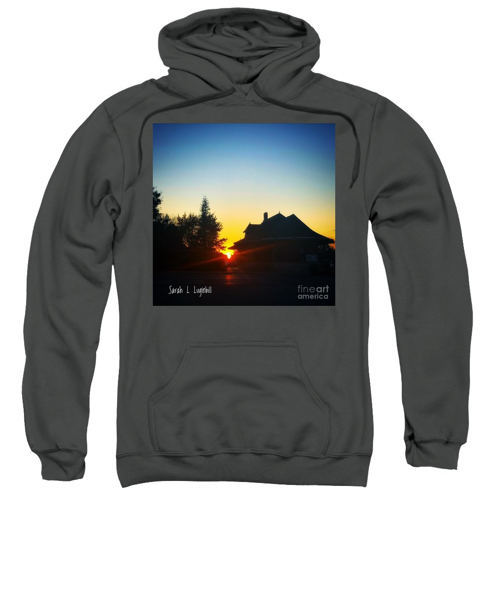 Photograph Sweatshirt featuring the painting Depot At Sunset by Sarah Luginbill