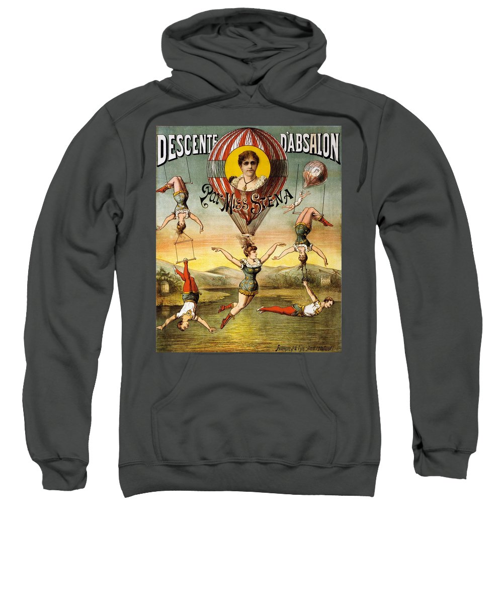 Circus Sweatshirt featuring the mixed media Descente D'absalon Par Miss Stena - Aerialists, Circus - Retro Travel Poster - Vintage Poster by Studio Grafiikka