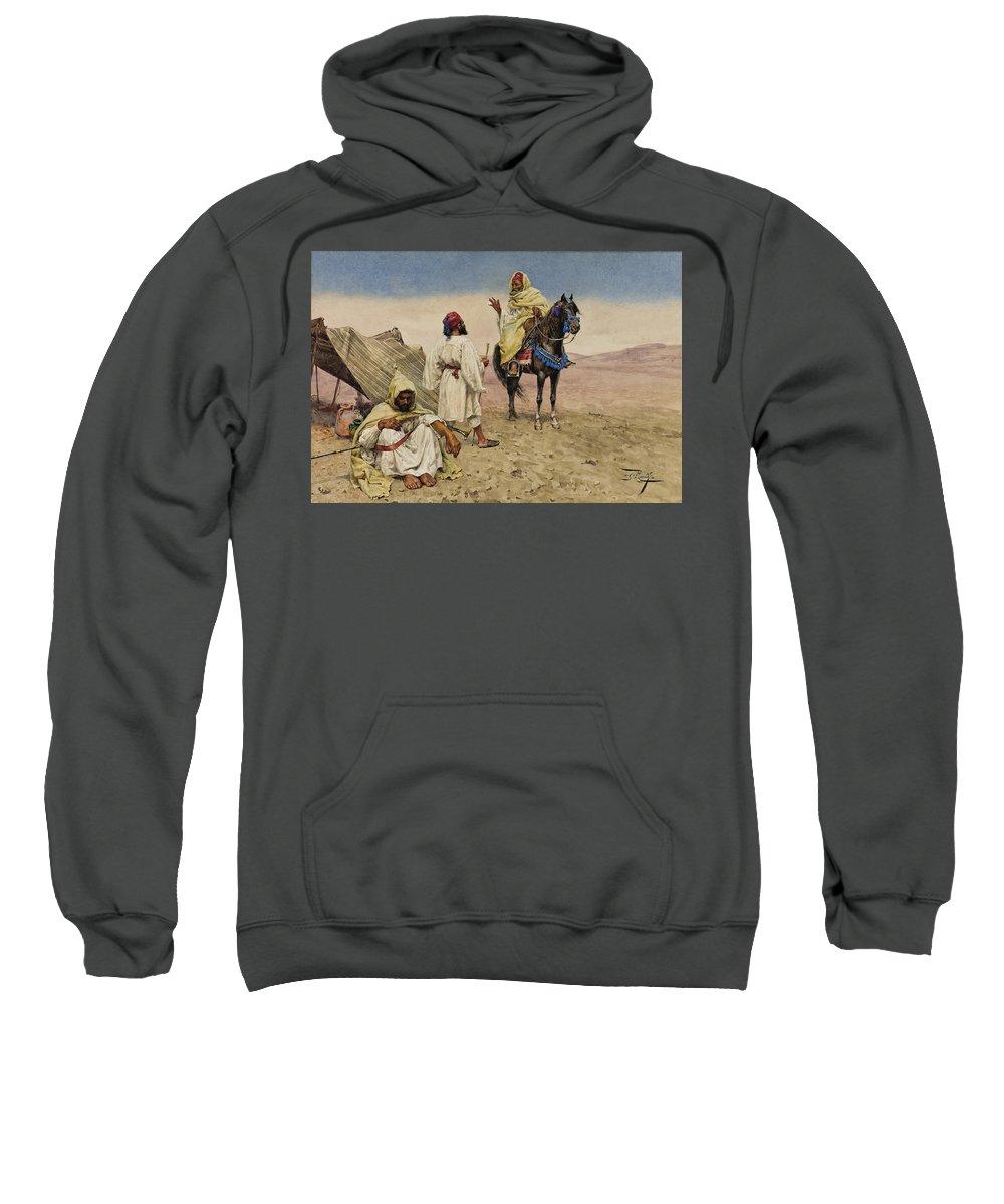 Giulio Rosati Sweatshirt featuring the drawing Desert Nomads by Giulio Rosati