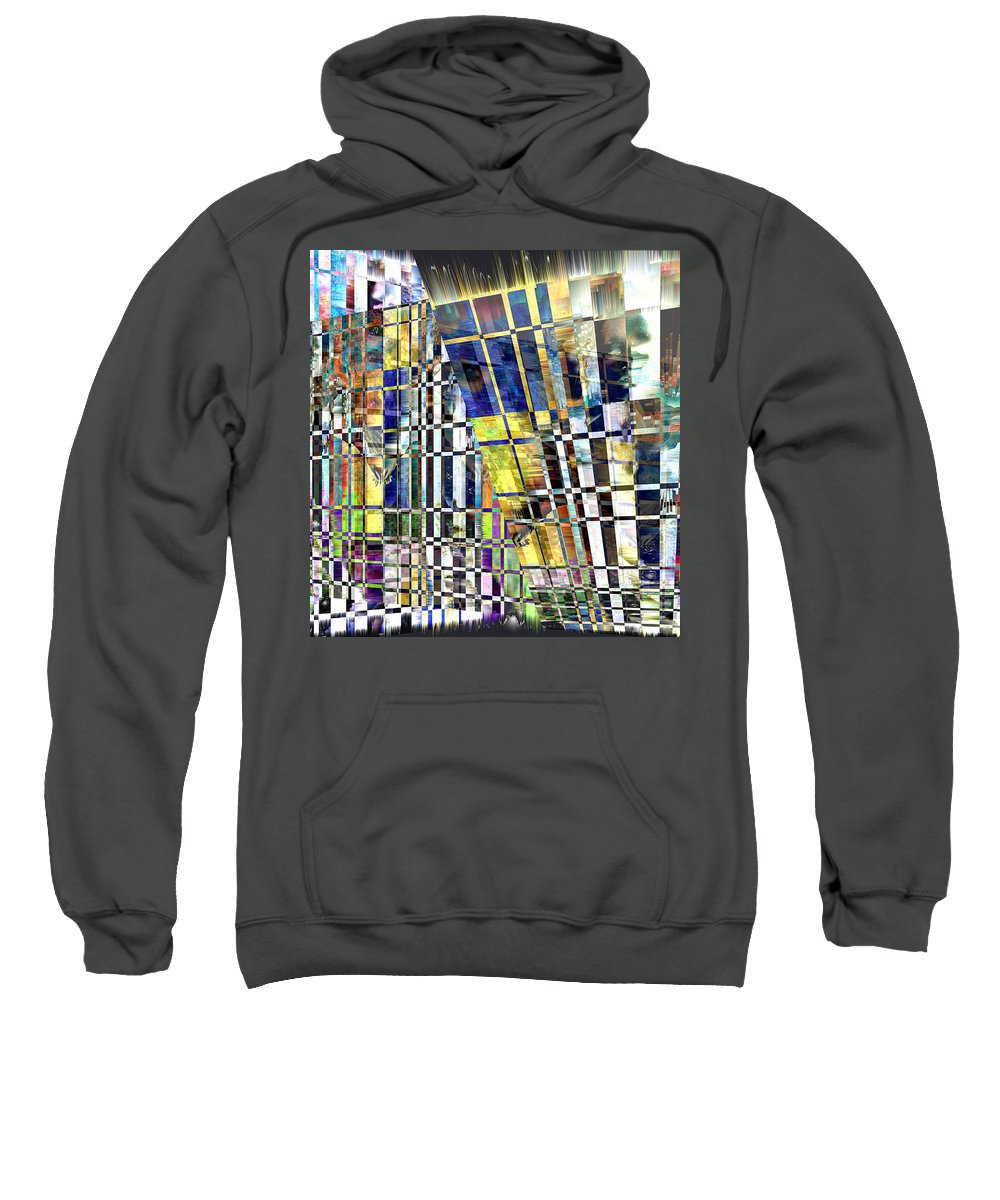Abstract Sweatshirt featuring the digital art Desperate Reflections by Seth Weaver