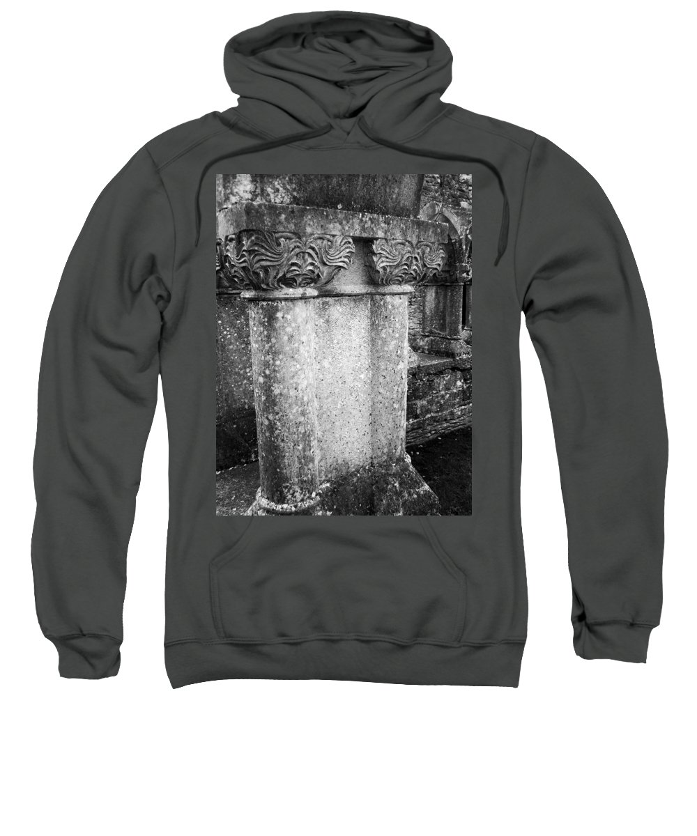 Irish Sweatshirt featuring the photograph Detail Of Capital Of Cloister At Cong Abbey Cong Ireland by Teresa Mucha