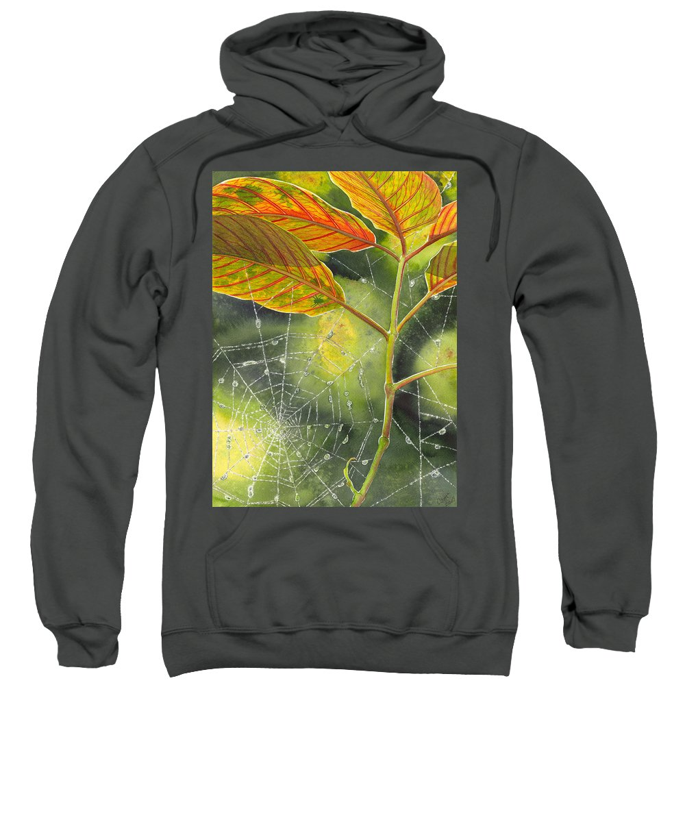 Web Sweatshirt featuring the painting Dew Drop by Catherine G McElroy