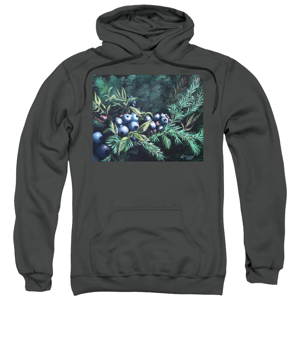 Blueberries Sweatshirt featuring the painting Dewey Blyes by Lorraine Vatcher