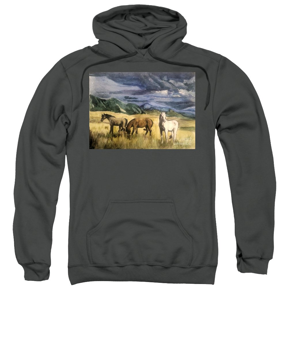 Horses Sweatshirt featuring the painting Did You Hear That by Lori Moon