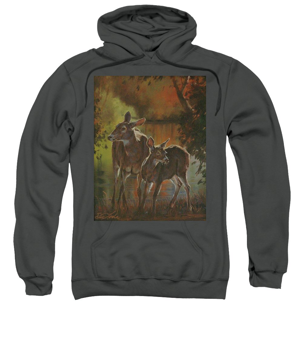 Deer Sweatshirt featuring the painting Did You Hear That by Mia DeLode