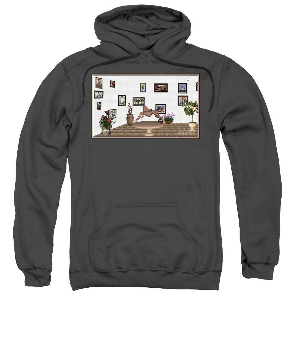 People Sweatshirt featuring the mixed media Digital Exhibition _ Girl 50 by Pemaro