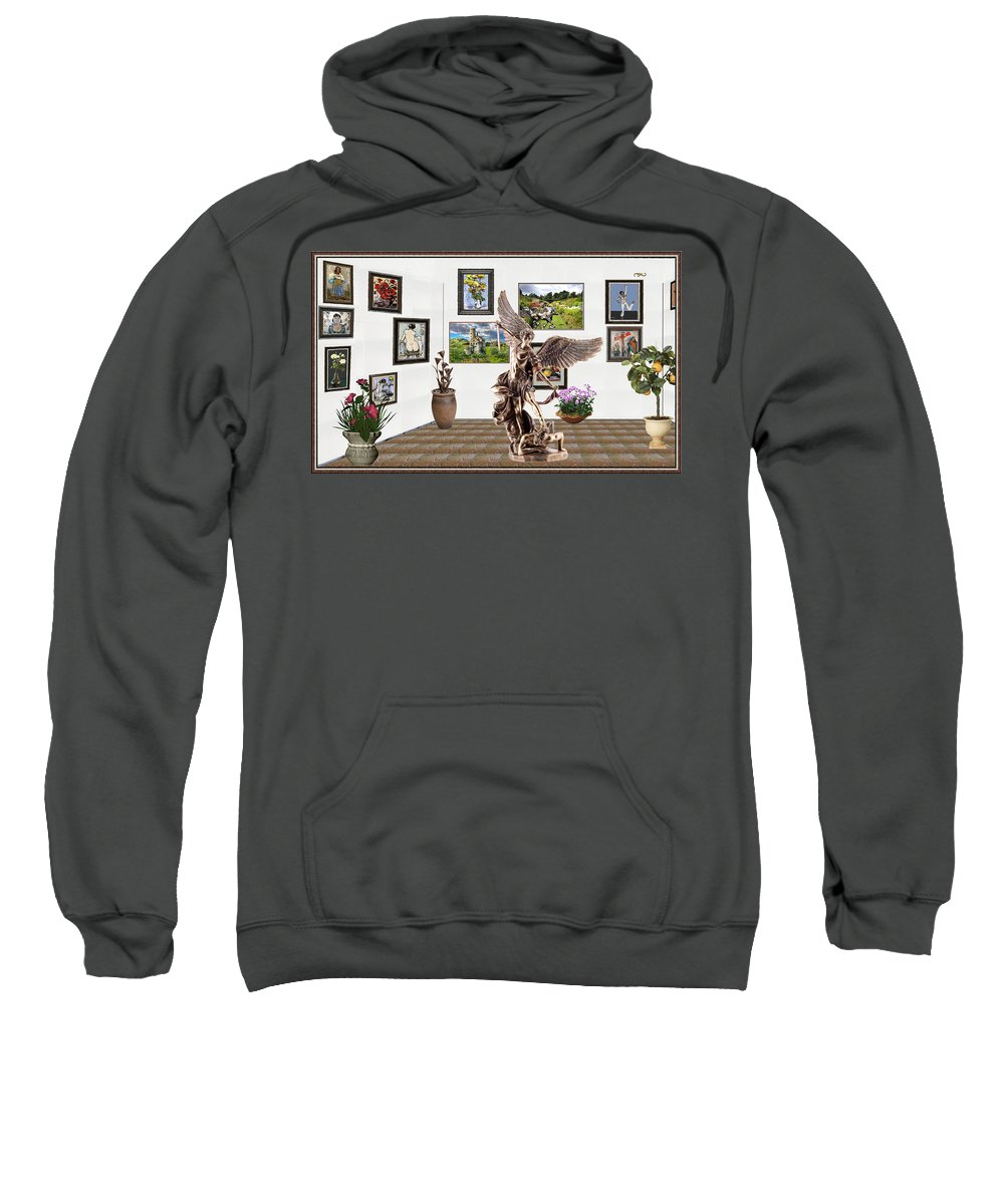Landscape Sweatshirt featuring the mixed media digital exhibition _ sculpture of a Angels and Demons by Pemaro
