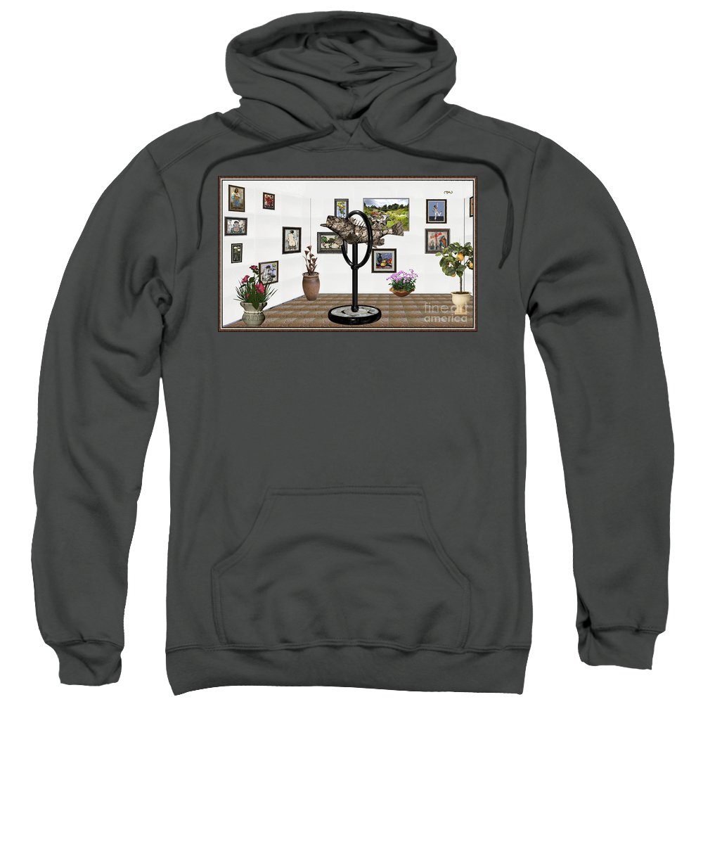 Modern Painting Sweatshirt featuring the mixed media digital exhibition _ Statue of fish 12 by Pemaro