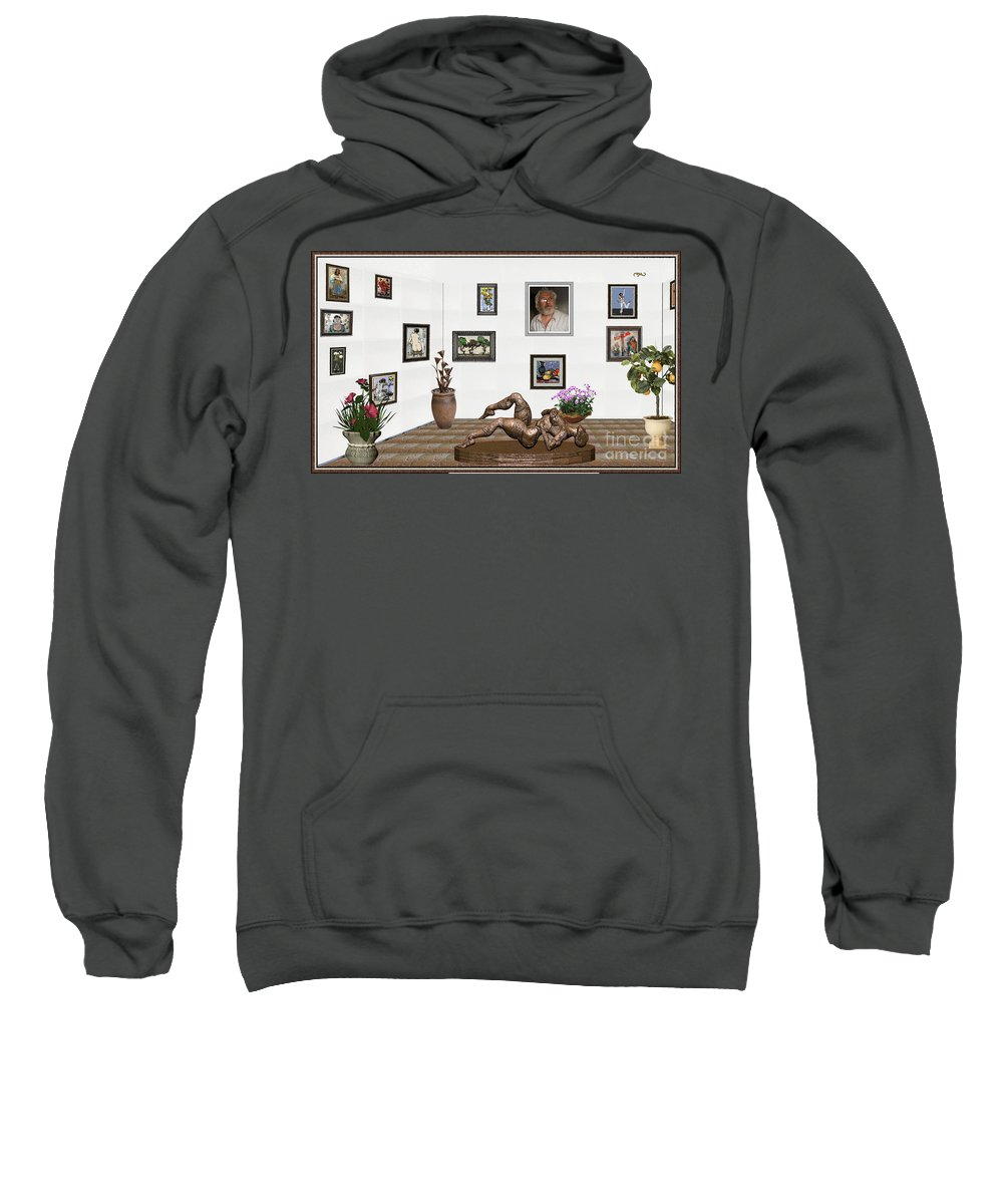 Modern Painting Sweatshirt featuring the mixed media digital exhibition _ Statue of Girl 6 by Pemaro