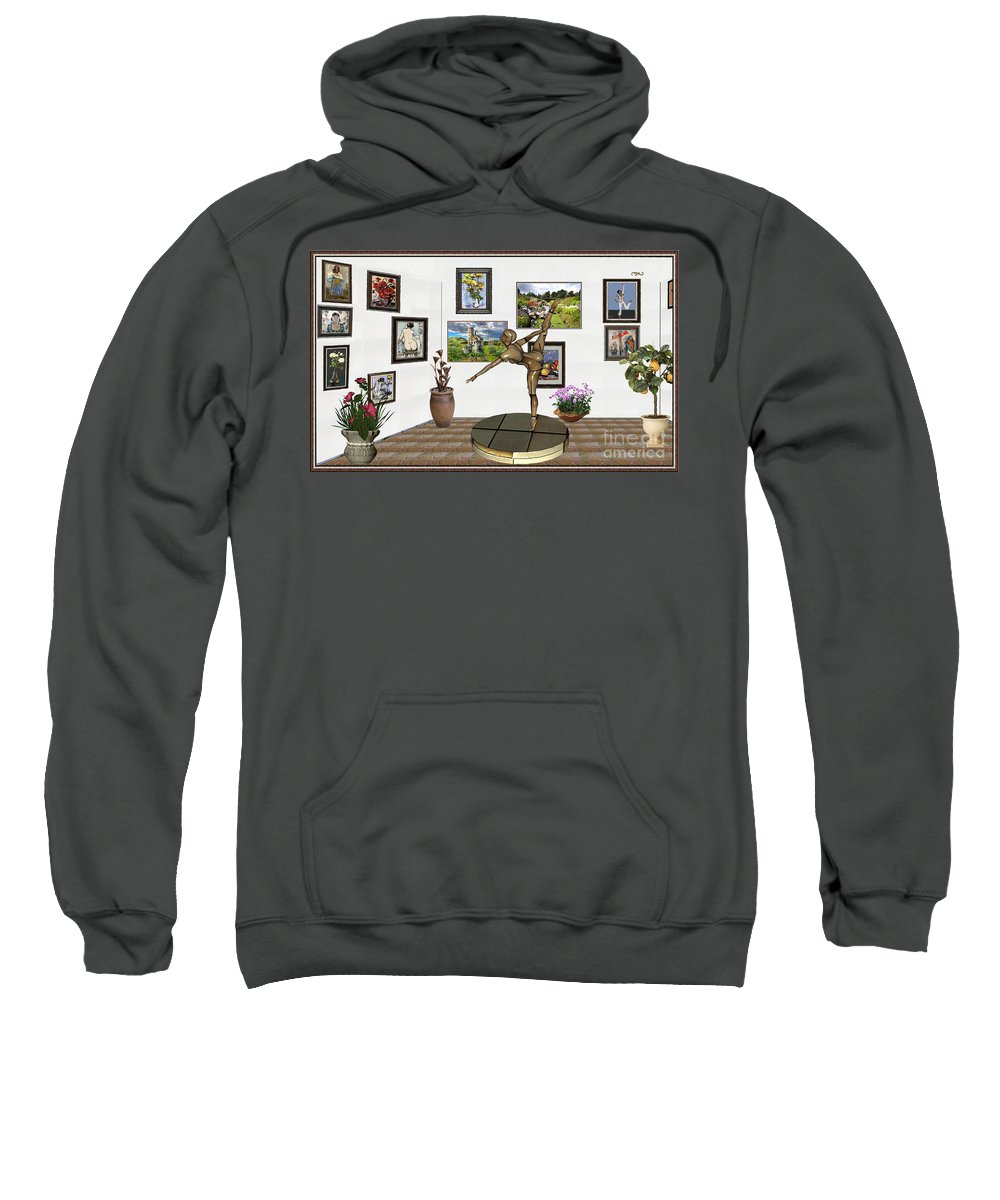 Modern Painting Sweatshirt featuring the mixed media digital exhibition _ Statue of girl acrobat 35 by Pemaro
