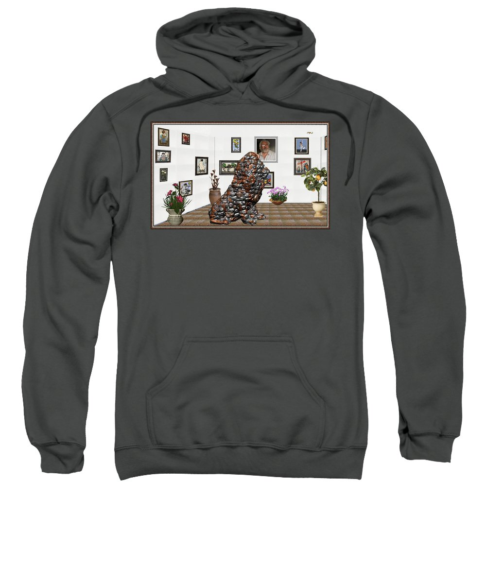 Modern Painting Sweatshirt featuring the mixed media digital exhibition _Modern Statue of scrap by Pemaro