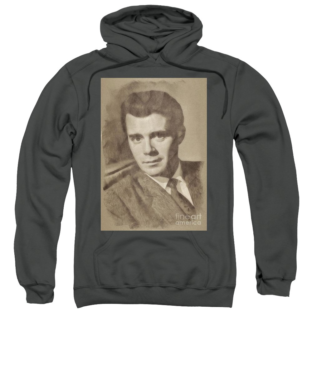 Hollywood Sweatshirt featuring the drawing Dirk Bogarde, Vintage Actor By John Springfield by John Springfield