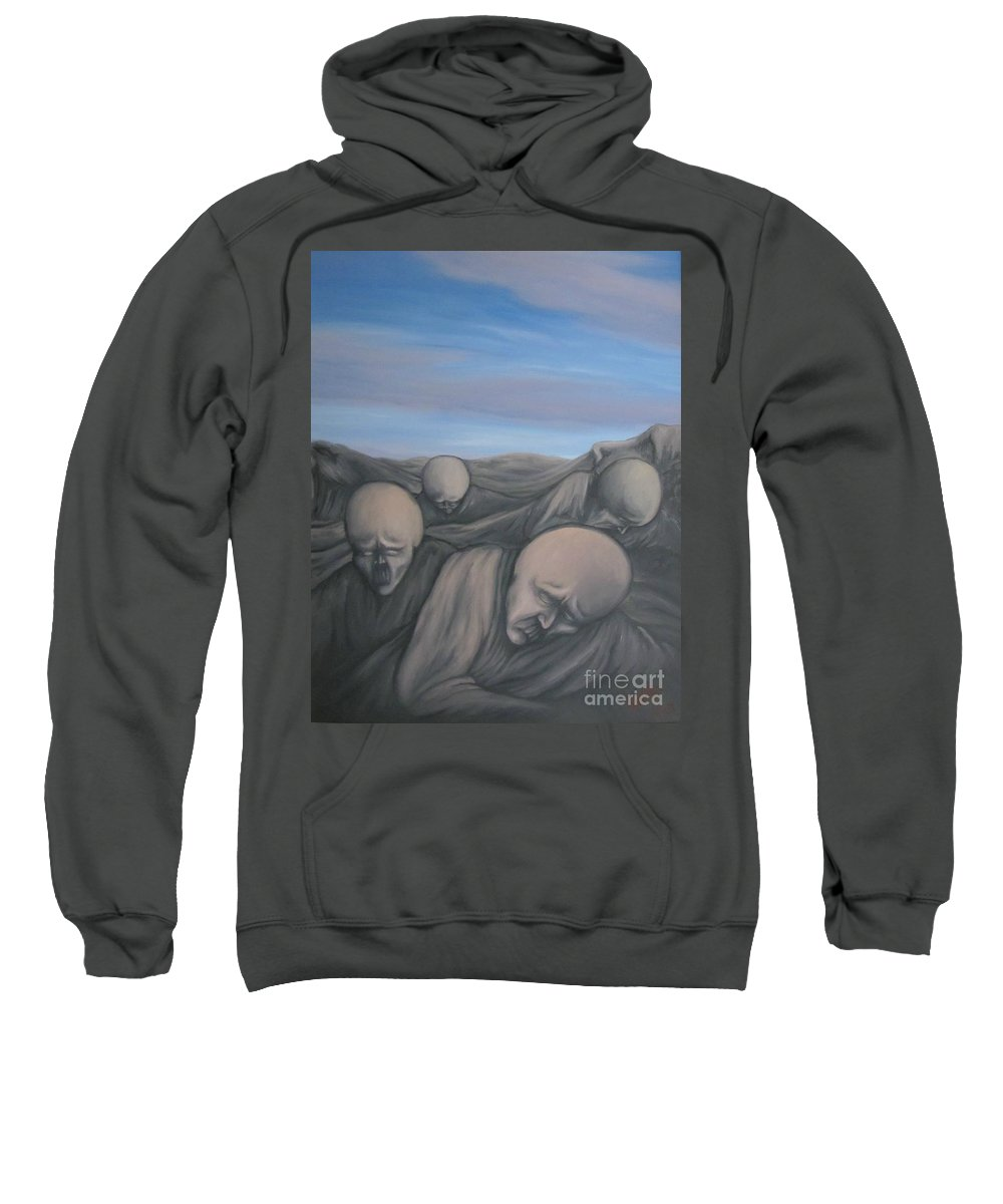 Tmad Sweatshirt featuring the painting Dismay by Michael TMAD Finney