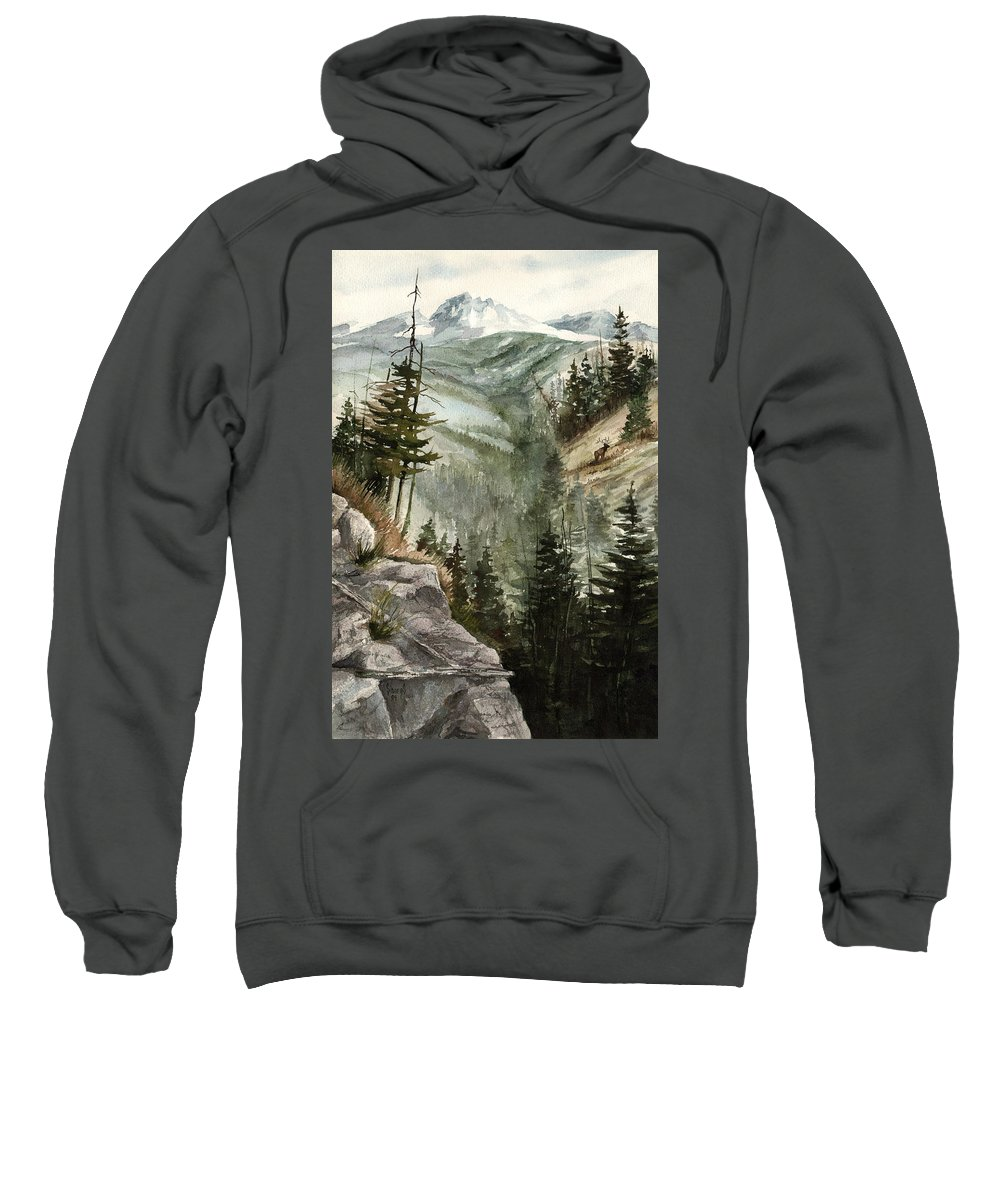 Mountian Elk Landscape Wildlife Trees Sweatshirt featuring the painting Distant Dream by Sam Sidders