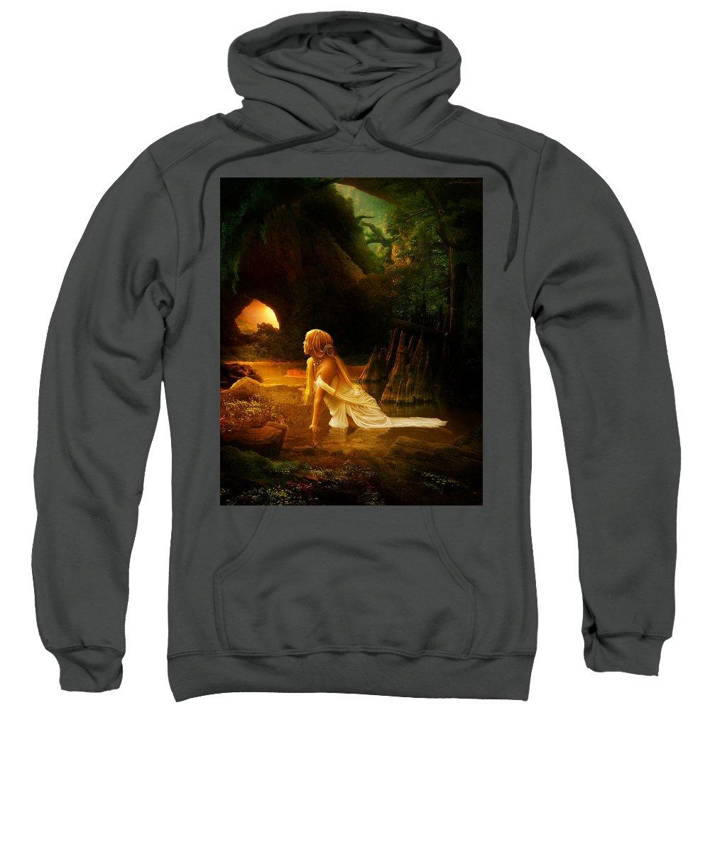 Cave Sweatshirt featuring the digital art Distant Horizon by Karen Koski