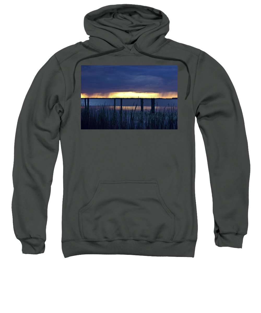 Lake Sweatshirt featuring the digital art Distant Storms At Sunset by DigiArt Diaries by Vicky B Fuller
