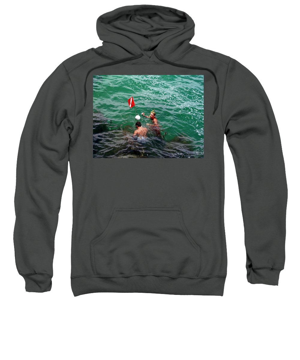 Boys Sweatshirt featuring the photograph Divers At Sebastian Inlet On The Atlantic Coast Of Florida by Allan Hughes