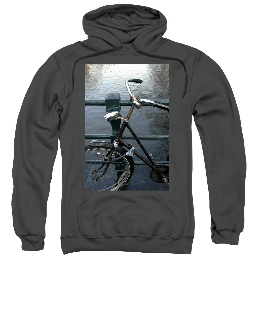 Landscape Amsterdam Red Light District Bicycle Sweatshirt featuring the photograph Dnrh1104 by Henry Butz