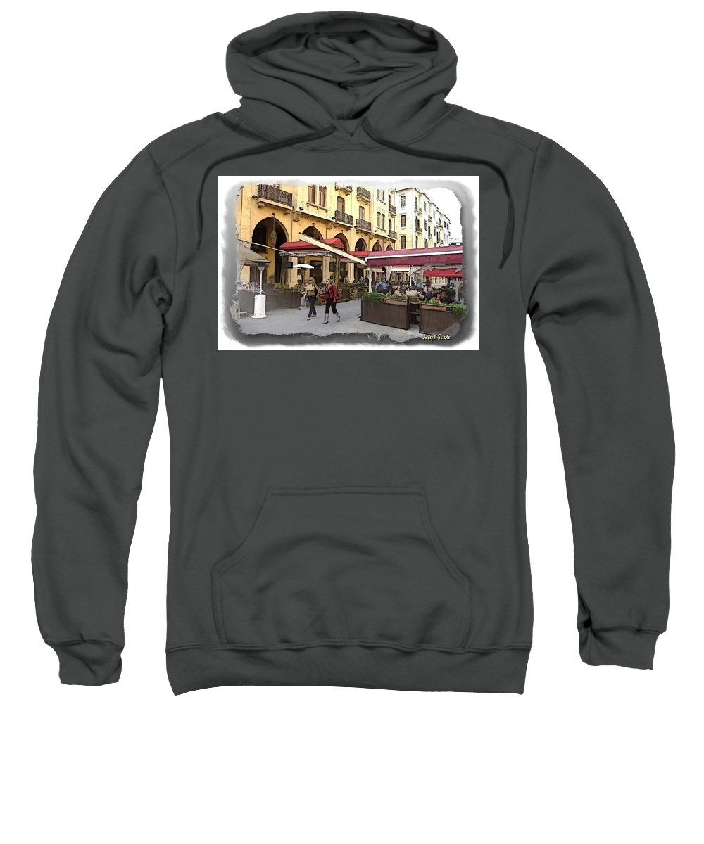 Coffee Shops Sweatshirt featuring the photograph Do-00352 Downtown Coffee Shops by Digital Oil